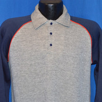 80s QW Gray Blue Polo Style Raglan Sleeve Sweatshirt Medium