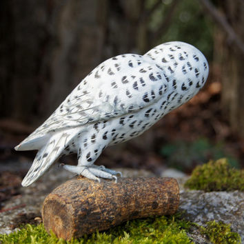 Handcarved Wood Painted Snowy Owl