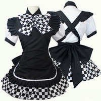 Anime Maid Costume Haiyore! Nyaruko-san Black White Skirt Maid Dress Cosplay