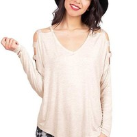 Casual Cutout Shoulder Long Sleeve Tunic Knit Top