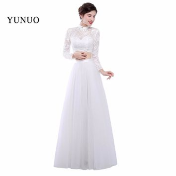Newest Real Photo White Sexy A Line High Neck Long Prom Dresses 2018 Beauty Lace Long Sleeves Floor Length Prom Dress YN111502