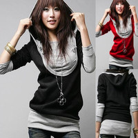 Fashion Slim Women Hoodie U Collar Cotton Sweatshirt Long Sleeve Tops = 1931520580