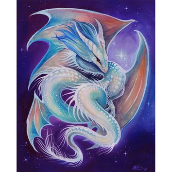Diamond Painting Full Square/Round Fantasy Dragon and Girl 5D Daimond Painting  Embroidery Cross Stitch  Mosaic Art LE02500