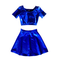 Blue Holographic Matching Set Short Sleeve Crop and Circle Skirt
