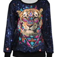 Women's Men's Graphic 3D Tiger Printing Loose Long Sleeve T-Shirt Sweater Hoodies Blouses Coat  Black W115 = 1932603588