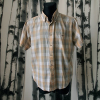 Vintage Men's 60's/70's Plaid Shirt Golden Tan and Gray and White Mad Men size XL