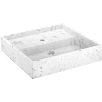 Exclusive Square Vessel Sink Countertop Lavatory Washbasin Matte Carrara Marble
