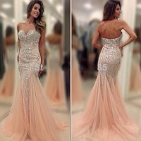 2015 Pink Bead Mermaid  Evening Dress Formal Party Pageant Prom Celebrity Gown