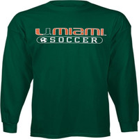 Miami Hurricanes Green Soccer Long Sleeve T-Shirt