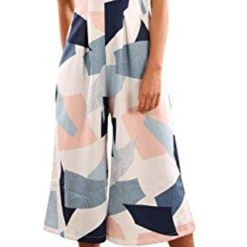 PRETTODAY Women's Summer Printing Jumpsuit Off The Shoulder Sleeveless Rompers