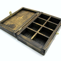 Natural Pallet Wood Jewelry Box with Compartments and Brass Hardware - Rustic Wooden Box with Dividers - Unique Small Storage