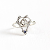 Antique 18k & 10k White Gold Old European Diamond , Created Sapphire Stick Pin Conversion Ring - Size 6 Art Deco Vintage 1920s Fine Jewelry