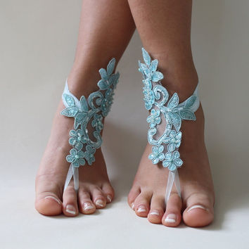5 pairs bridesmaid gift,Blue Lace Barefoot Sandals, french lace, bridessmaid Foot jewelry,Wedding Shoes, Victorian Lace Anklet , Belly Dance
