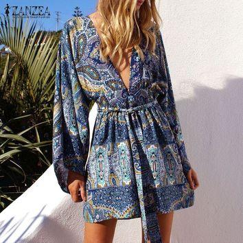 ZANZEA Women Tops Boho Kimono Cardigan 2017 Autumn Sexy Blouses Shirts Ladies Flare Sleeve V Neck Loose Beachwear Plus Size