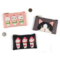 Choo Choo cat flat zipper card case