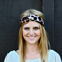 Turban Knotted Headband, Leopard, Tan, Black, Brown