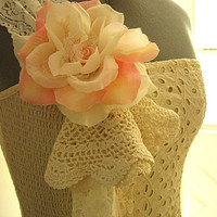 Petite small ecru/tan/tea-colored upcycled cotton eyelet dress, ruffles, single shoulder strap, pink flower pin, lace, doily, beach wedding