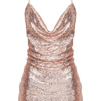 Rose Gold Sequin Chain Choker Mini Dress