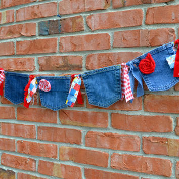 denim banner, country wedding decor, 1st  birthday decor, cake smash decor, denim pocket banner, cowgirl party, patriotic banner