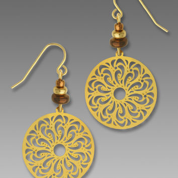 Adajio Earrings - Gold Plated Filigree Disc with Beads