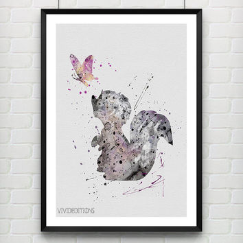 Flower the Skunk Poster, Bambi Disney Watercolor Art, Watercolor Print, Baby Nursery, Kids Decor, Not Framed, Buy 2 Get 1 Free! [No. 152]