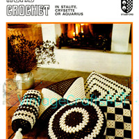1970s Five Scatter Cushions-Vintage Crochet Pattern-Granny Square-Diamond-Square Motif-Round Pillow-Bolster-Home Decor-Twilleys 6019