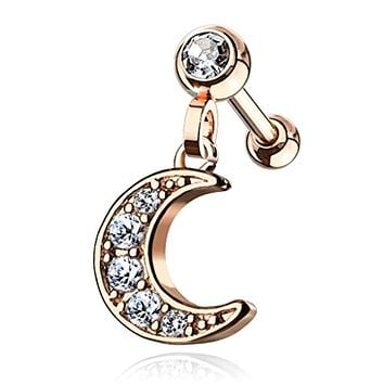 CZ Paved Crescent Dangle Jeweled Set Ball 316L Surgical Steel WildKlass Ear Cartilage/Tragus Barbell Studs