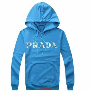 CREY9N Prada Women Men Casual  Long Sleeve Top Sweater Hoodie Pullover Sweatshirt