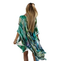 Women Summer Blouse Beach Boho Kimono Cardigan Gradient Ramp Boho Printed Sleeve Casual Loose Long Beach Coat Tops