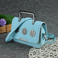 Blue PU Leather Sequined Flower Flap Shoulder Mini Satchel Bag