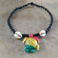 Rasta Turtle Hemp Necklace, Good Vibes. Cowrie Shells, Hemp Necklace, Gift for Friend, Unisex Jewelry, Gift for Her, Gift for Him, Fun