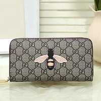 GUCCI Woman Men Fashion Bee Clutch Bag Leather Purse Wallet
