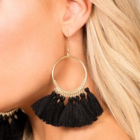 In The Loop Black Tassel Earrings
