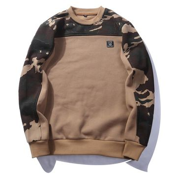 USA SIZE Side Buckle Ribbon Camouflage Hoodies 2017 Mens Hip Hop Casual Camo Pullover Hooded Sweatshirts Fashion Male Streetwear