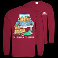 Southern Couture Classic Happy Fall Y'All Pumpkins Long Sleeve T-Shirt