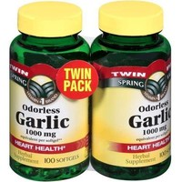 Odorless Garlic 1000 mg, Twin Pack (100 Soft Gels Each)