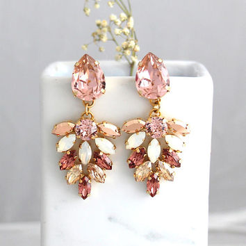 Blush Earrings, Bridal Blush Earrings, Morganite Drop Earrings, Blush Dangle Earrings, Roee Gold Earrings, Bridal Blush Chandelier Earrings