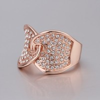 ZLYC 18K Rose Gold Plated Alloy Linked Leaf Ring with White Rhinestone Setting for Women