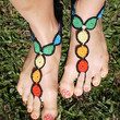 Barefoot Sandals CHAKRA FEET Hand Crochet  Red by unferalhippie