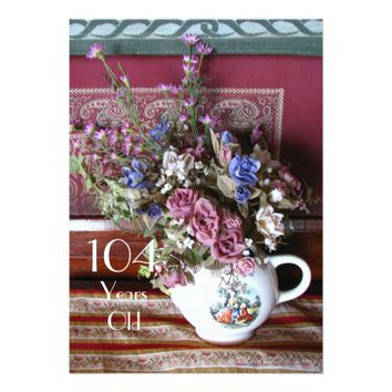 104th Birthday Party Invitation, Vintage Teapot Card