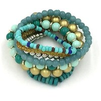 TQS™Set of 7 Boho 70's Trendy Stretch Beaded Stacking Bracelets Blue