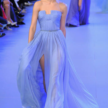 Unique neckline high front slit light blue chiffon elie saab dress for sale with cute belt pleated slim bodice flowing skirt