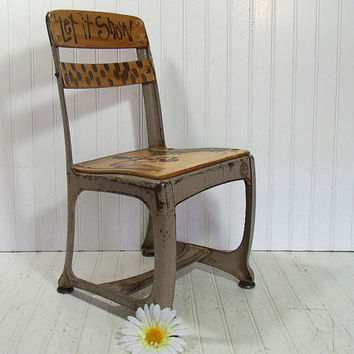 Vintage Hand Painted School Student Chair - Mid Century American Seating Company Elementary Seating - Industrial Wood & Metal Photo Prop