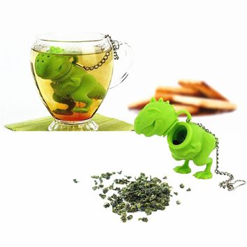 Green Silicone Dinosaur Tea Infuser Loose Leaf Strainer Herbal Filter Diffuser