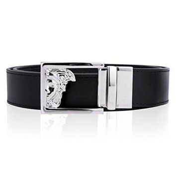 CHEN1ER Versace Collection Mens Black Leather Medusa Logo Adjustable Reversible Belt 207