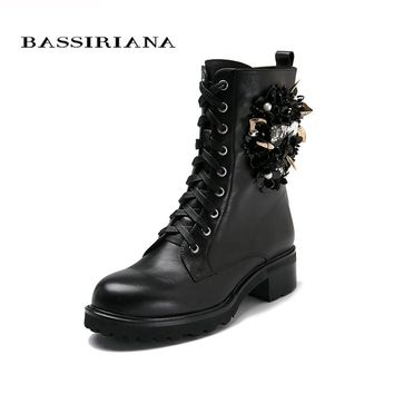 Shoes woman genuine leather ankle boots, flats shoes,  Autumn boots Suede leather 35-40 lace-up Free shipping BASSIRIANA