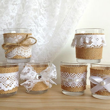 6 white lace and burlap covered 10 hour tea Votive candles, bridal shower decor, wedding decoration, home decor or gift