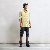 VAPOUR BUTTON SHIRT - Yellow Hand Dyed Men's Button-Up Dress Shirt - Heathen Clothing Spring / Summer - Spencer Hansen