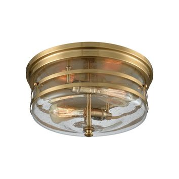 11325/2 Port O' Connor 2 Light Flush In Satin Brass With Seedy Glass - Free Shipping!
