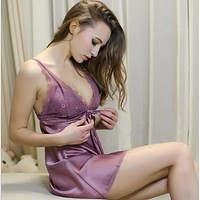 Ladies Sexy Silk Satin Nightgown Sleeveless Nightdress Sleepwear V-neck Nighties